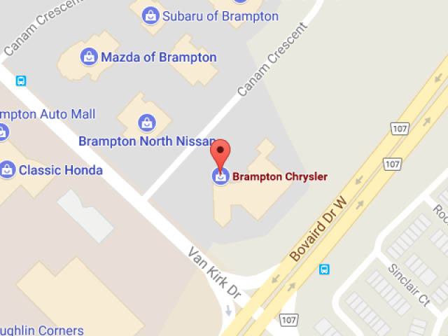 A map of Brampton Chrysler's location at 190 Canam Crescent in Brampton, ON.