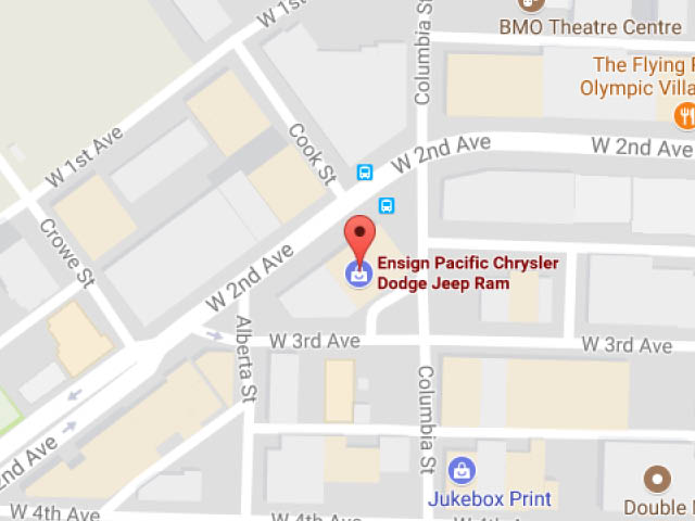A map of Ensign Pacific Chrysler's location at 216 West 2nd Avenue in Vancouver, BC