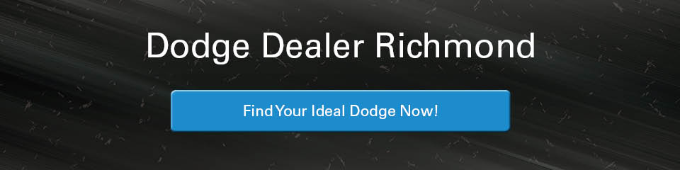 A banner with a blurry, snowy road in the background with the words 'Dodge Dealer Richmond' in white and a blue button that says 'Find Your Ideal Dodge Now!' in the centre. The button turns gray on mouseover.
