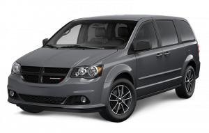 A dark gray Dodge Grand Caravan