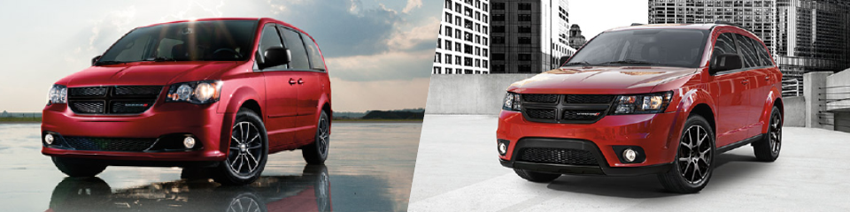 Red 2016 Dodge Grand Caravan and 2016 Dodge Journey