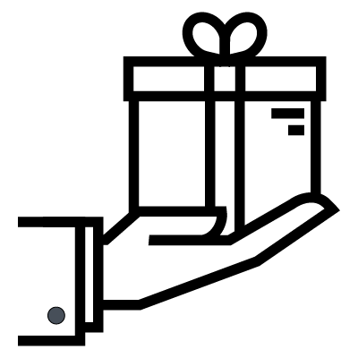 An icon of a hand presenting a wrapped present