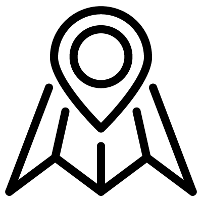 An icon of an unfolding map, with a 'You Are Here'-style arrow pointing at the center