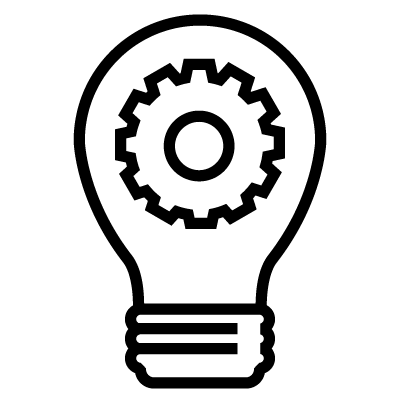 an icon of a gear inside of a light bulb-