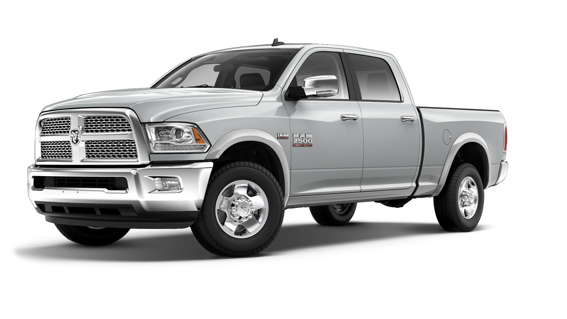A light gray Ram 2500