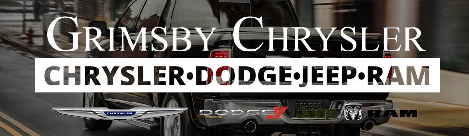 The Grimsby Chrysler Dodge Jeep Ram logo, with the individual logos of those brands underneath, superimposed over a photo of a black Ram truck