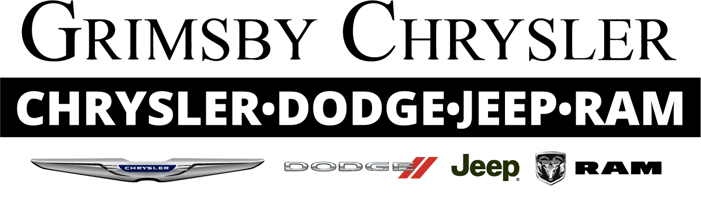 The Grimsby Chrysler Dodge Jeep Ram logo, with the individual logos of those brands underneath