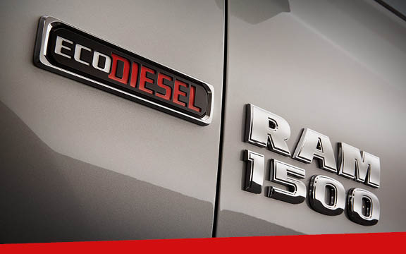 A close-up of the badges on a gray Ram 1500 EcoDiesel