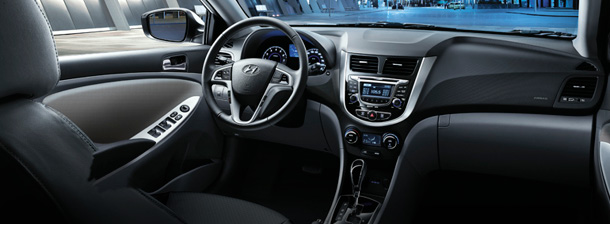 Interior of a 2016 Hyundai Accent Hatchback